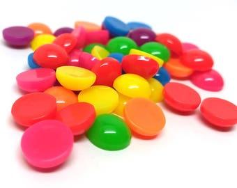 50 pcs Resin Embellishment Cabochons Assortment - 12mm (1/2 in) - Mix of Solid Colors!