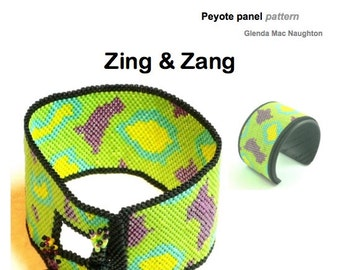 Zing and Zang PDF beaded peyote cuff bracelet: Instant Downloadable Pattern PDF File