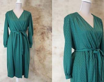 80s Mod Dress, Wrap Dress, Wedding Guest Dress, Vintage Green Evening Dress 1980, Midi Dress, Size M, Size L, Medium Large