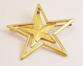 Vintage Double Star Brooch - B79