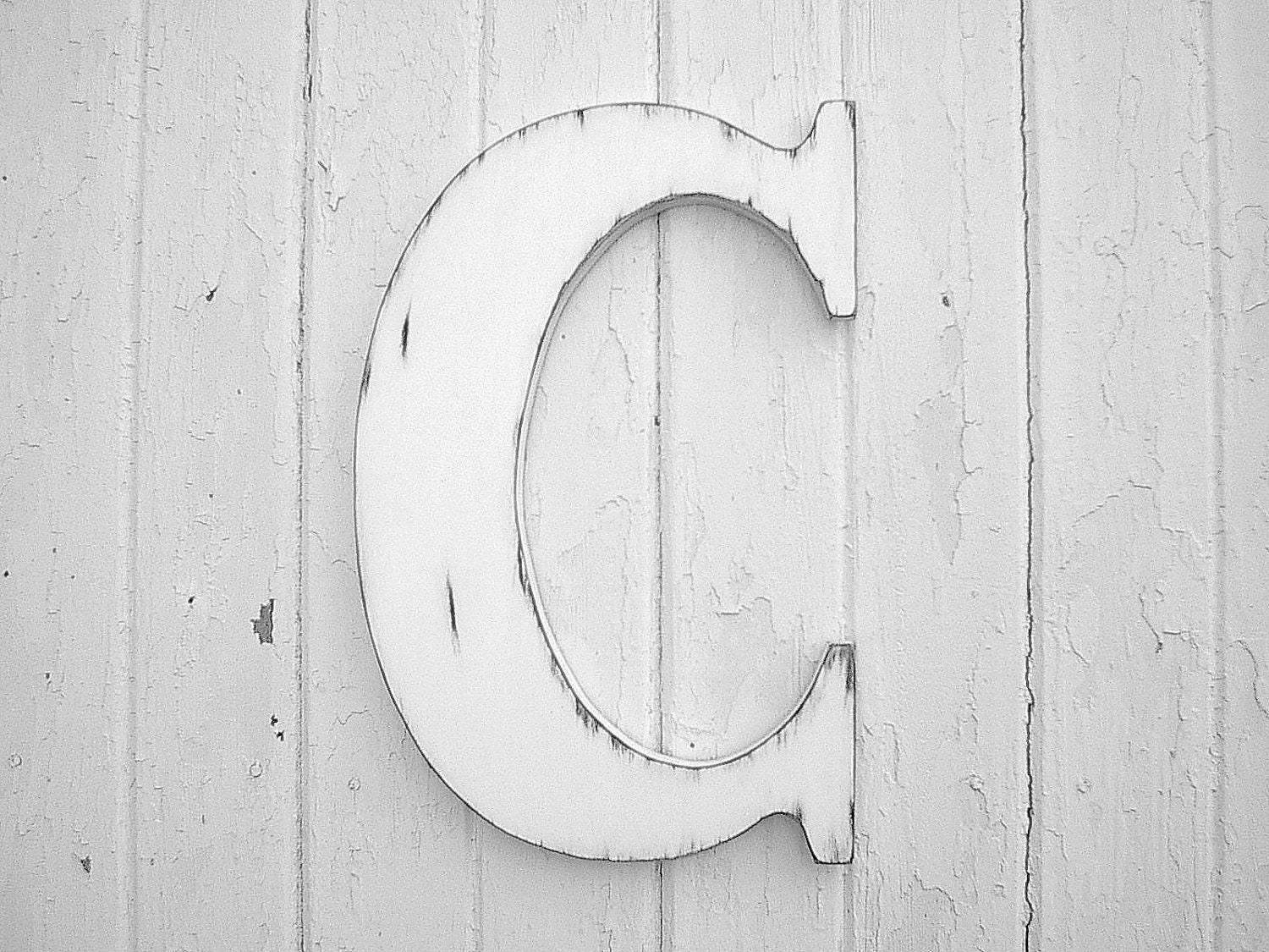 Letter C Wall Hanging Distressed Wooden Wall Hanging Letter C White Initial