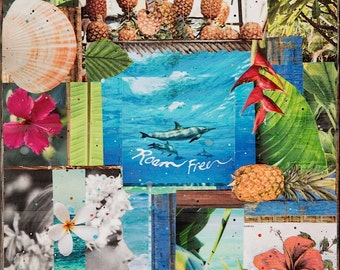 ORIGINAL, Roam Free Hawaii, Oil and Encaustic Collage, One of a Kind, 12x12, artwork, wood panel, Collector's item, Ocean, Hawaiian Art