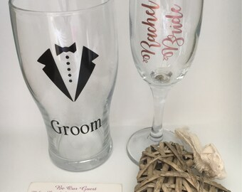 Groom Best Man Father of the Groom wedding Bride suit Personalised Pint Glass