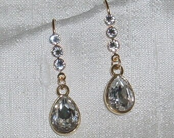 Swarovski Crystal Rhinestone Bridal Earrings Gold Made to Order