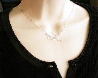 Branch Necklace, Leaf Necklace. Branch with Open Leaves, Sterling Silver