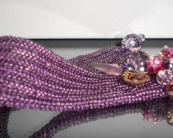 Beadwoven Plumlicious Bracelet purple plus vintage beads