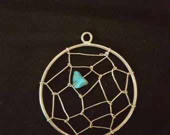 Silver and turquoise dreamcatcher pendant