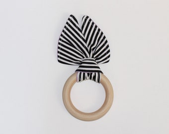 "3"" Black, White & Purple Stripes Wooden Bunny Ear Teething Ring Toy // by Elle Lee and Me"