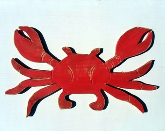 Beach Crab Sign Wooden Red Destressed Wall Art Beach Coastal Sign Outdoor And Indoor Beach Decor