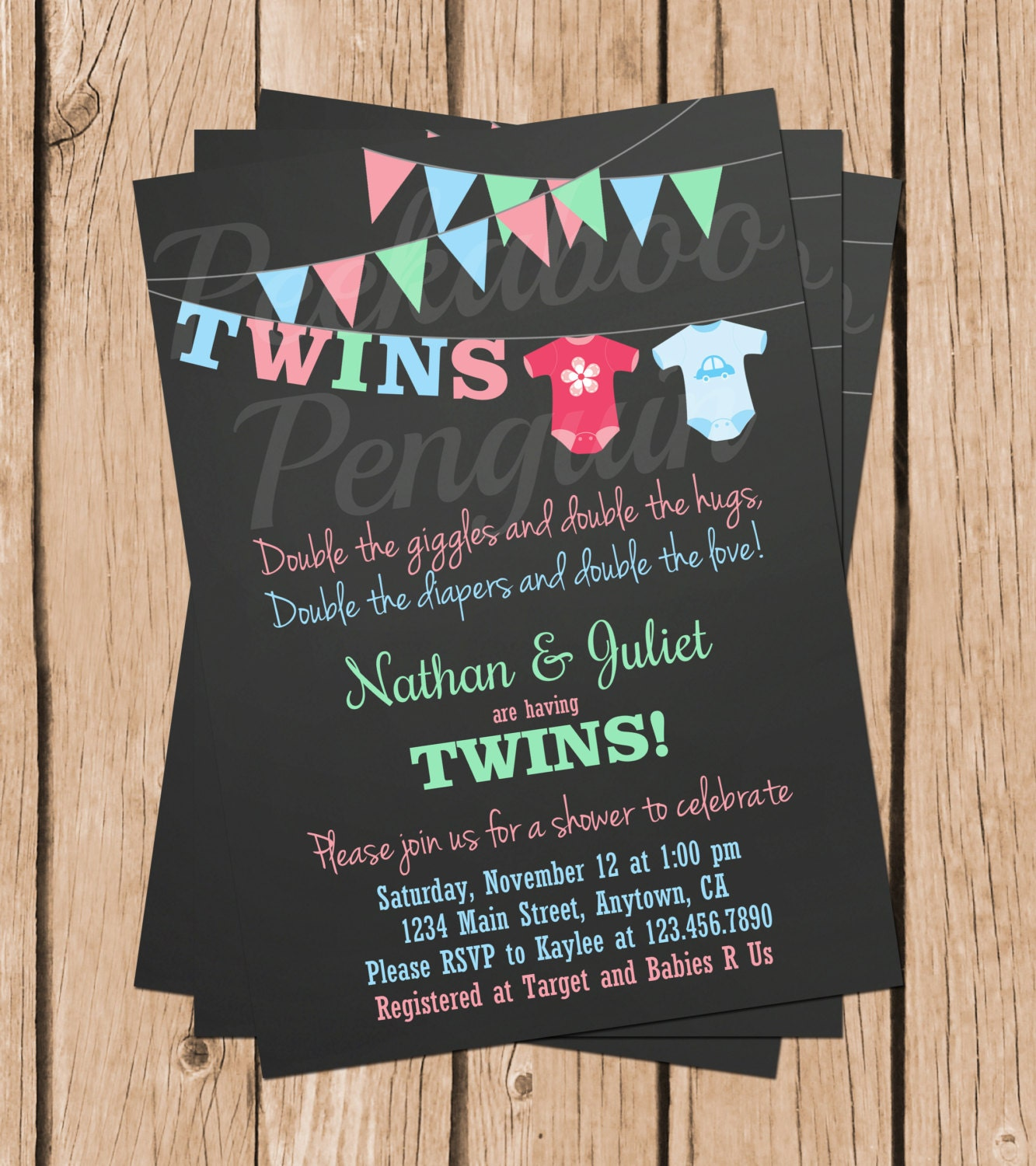 Twins Baby Shower Invitations Boy Girl Twins Shower Couples