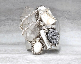 Silver Leaf Metal Cuff - Silver Cuff with Druzy White Agate and Wire Wrapped Rough Crystal quartz Made to Order