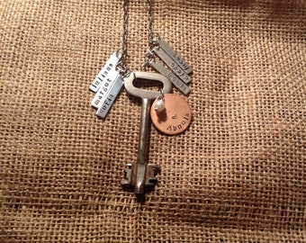 Vintage key family necklace