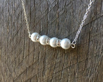 White Pearl Swarovski Crystal Bridal Necklace Rondelle Simple Necklace with on Silver or Gold Chain