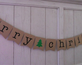 Merry Christmas Banner . Christmas Banner . Merry Christmas . Christmas Decoration . Holidays . Glitter . Customize Bunting Flag Color