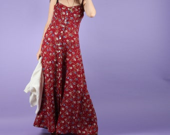 Lush 90s Red Floral Maxi Summer Dress XS S