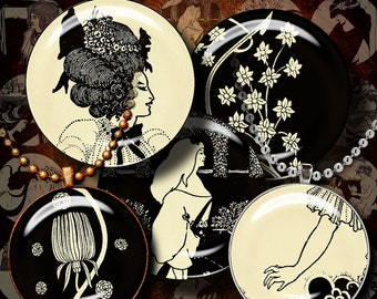 AUBREY BEARDSLEY (1) Two Digital Collage Sheets - Circles1.5 inch or any smaller size - Buy 3 Get 1 Extra Free