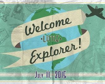 Baby Shower Invite- World Explorer Theme