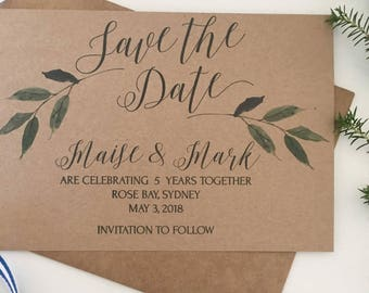Rustic Save the Date Cards, Greenery Save the Date, Invitations, Greenery Invitation, Save the Date Vintage, Wedding Save the Date, Template