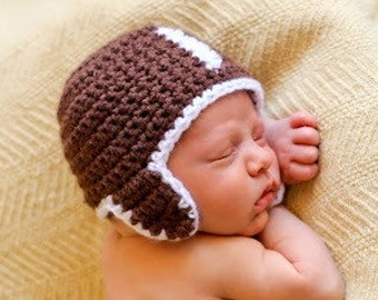 Hat CROCHET PATTERN Football Baby Girl Boy in 5 sizes 0 to 10 years Hat ONLY