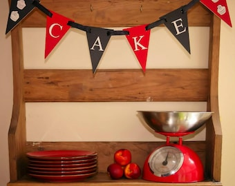 wooden bunting handmade bunting personalised bunting cake bunting room decor black and red theme new baby gift personalised gift new home