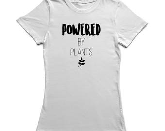 Powered By Plants Medium Front Quote Peace Dove Olive Branch Women's T-shirt