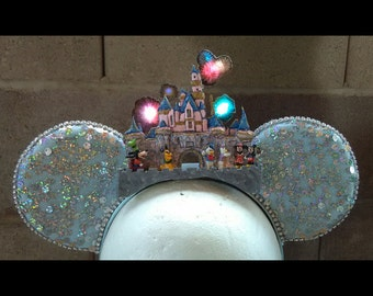 LIGHT UP 3D Sleeping Beauty's castle/fireworks ears/castle ears/Disneyland ears/Mickey ears/Minnie ears/fireworks ears/Disney castle ears