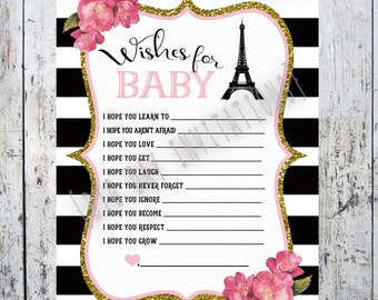 Paris French Baby Shower Game - Wishes for Baby Bebe - Matching Shower Invitation - Digital Printable File - Instant Download
