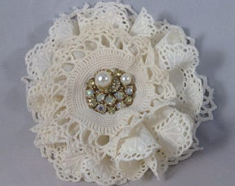 Handmade Jeweled Lace Brooch
