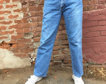 90s High Waisted Jeans/ Mom Jeans/ 33 inch Waist