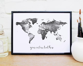 World map wall art etsy black and white watercolour world map gumiabroncs Images
