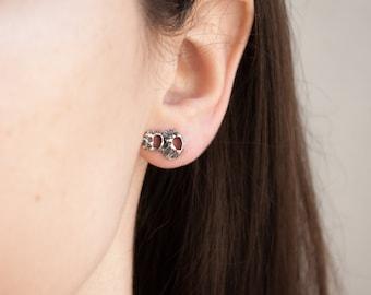 Small Black Stud Earrings, Everyday Earrings Black, Black Modern Earrings, Gothic Earrings For Women, Oxidized Stud Earrings, Eco Earrings