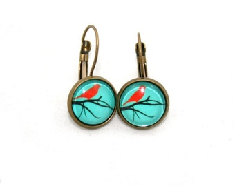 Red Bird Earrings, Illustration Jewelry, Dangle Earrings
