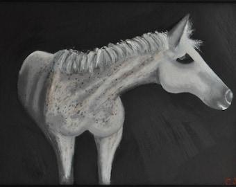 "Horse Portrait Original Oil Painting - ""Vacant Morrey"""