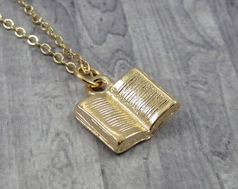 Open Book Necklace, Gold Plated Open Book Charm on a Gold Cable Chain