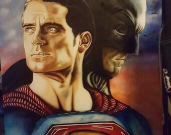 Airbrushed Superman /Batman poster .
