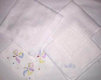 4 Vintage White Handkerchiefs