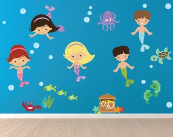 Mermaid Merman Wall Decal, Mermaid Wall Stickers, Nursery Wall Decal,  Reusable Non-toxic FABRIC WALL Decal NO PVCs, SD46