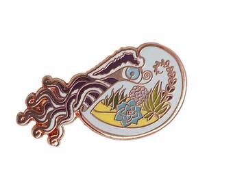 Nautilus Terrarium Enamel Pin -  terrarium pin - nautilus terrarium  Pin - lapel pin hat pin