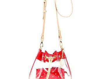 Sarah jean clear bucket handbag - racing red and gold