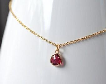 Necklace red drop pendant