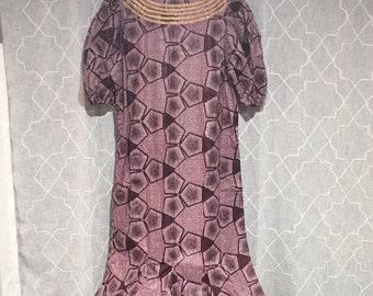 African Batik Dress, Long Purple African Dress, Geometric Handmade African Maxi Dress, Puffed Sleeves Plus Size Dress L XL XXL Vintage 90s