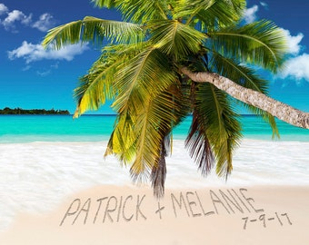 Personalized Wedding Gift Romantic Tropical Beach Decor Names in the Sand Photo Personalized Anniversary Gift pp166