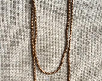 Double Wrap Dark Tan wooden Necklace, Boho wooden bead necklace, Bohemian double wrap necklace, 4mm wooden wrap necklace