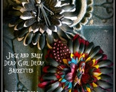 Hair Barrette: Dead Girl Decay -  Jack and Sally Tim Burton Nightmare Before Christmas Flowers Feathers Handmade Accessory