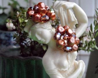 Vintage 50s 60s Copper Brown Crystal Pearl Cluster Clip On Earrings