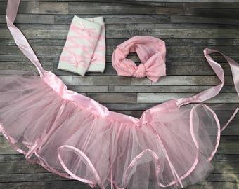 Pink tutu set, ballerina tutu, leg warmers, pink bow headband