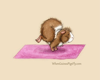 Crane Pose - Yoguineas Collection - Cute Guinea Pig Yoga Art Print