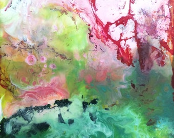 Abstract Encaustic painting, pink and green art, abstract green art