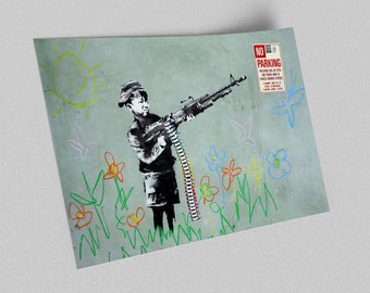 ACEO Banksy Croyola Shooter Graffiti Street Art Canvas Giclee Print