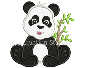 Zoo Baby Panda Bear Applique Machine Embroidery Design Jungle Boy Girl Cute animal INSTANT DOWNLOAD